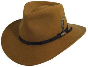 Scala Men s Pecan Brown Crushable Wool Felt Outback Hat 5661bd35bca