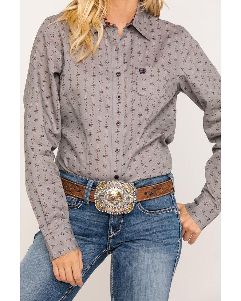 Cinch Women's Grey Geo Print Long Sleeve Western Shirt , Grey, hi-res