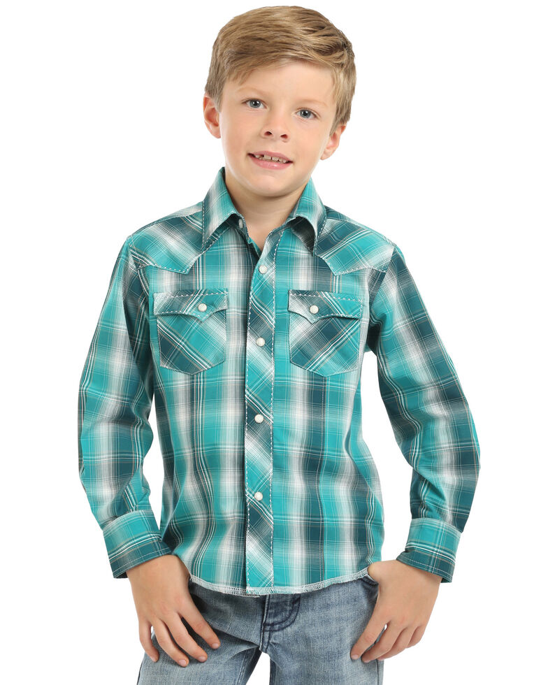 Wrangler Boys' Emerald Plaid Long Sleeve Western Shirt , Turquoise, hi-res