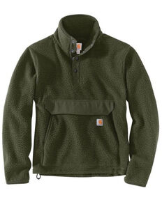 Carhartt Men's Heather Basil Relaxed Fit 1/4 Snap Fleece Work Pullover - Tall , Olive, hi-res
