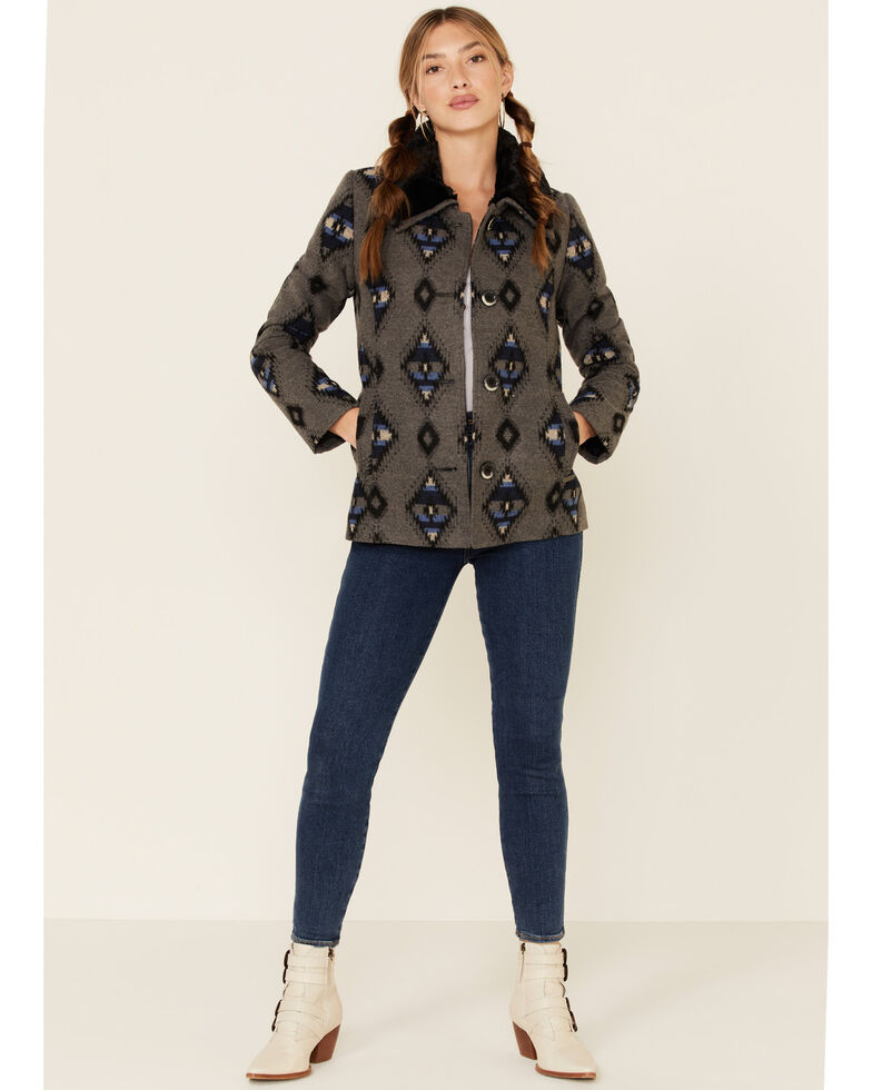 Powder River Outfitters Grey Aztec Jacquard Printed Jacket , Grey, hi-res