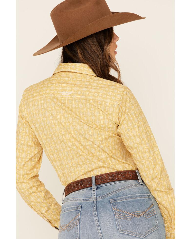Ariat Women's Mustard Geo Print Kirby Stretch Long Sleeve Western Core Shirt , Mustard, hi-res