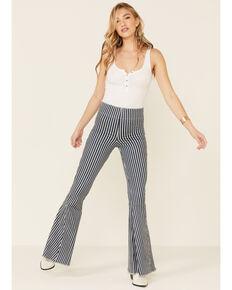 Show Me Your Mumu Women's Berkeley Striped Flare Leg Jeans, Grey, hi-res