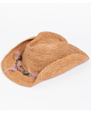 ále by Alessandra Women's Arabella Crochet Raffia Feather Chain Hat , Brown, hi-res