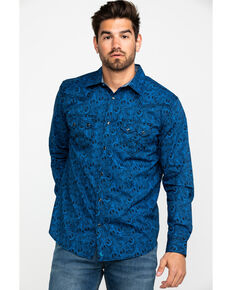 Cody James Men's Waterloo Paisley Print Long Sleeve Western Shirt , Navy, hi-res