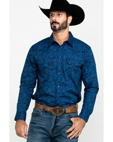 Cody James Men's Waterloo Paisley Print Long Sleeve Western Shirt - Big , Navy, hi-res