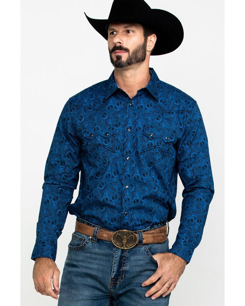 Cody James Men's Waterloo Paisley Print Long Sleeve Western Shirt - Big , Navy, hi-res