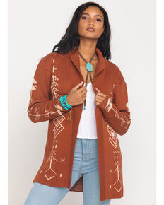 Cotton Emporium Women's Rust Aztec Open Front Cardigan, Rust Copper, hi-res