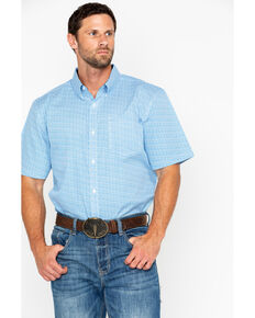 Cody James Core Men's Diamond Mine Print Short Sleeve Western Shirt, Royal Blue, hi-res