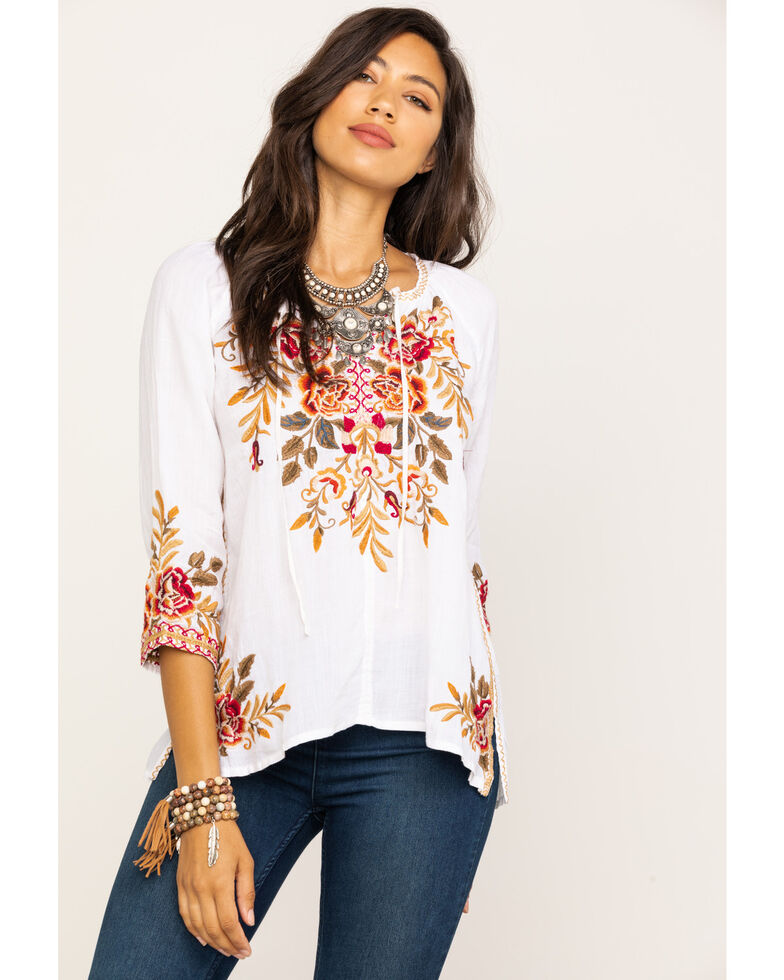 Johnny Was Women's Charlotte Peasant Blouse, White, hi-res