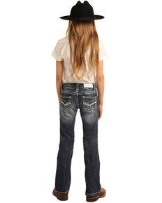 Rock & Roll Cowgirl Girls' Scroll Dark Vintage Bootcut Jeans, Blue, hi-res