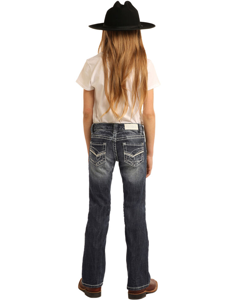 Rock & Roll Cowgirl Girls' Scroll Dark Vintage Bootcut Jeans, Blue, hi-res