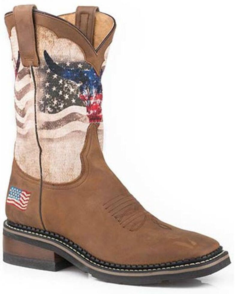 Roper Men's Patriot Skull Western Boots - Wide Square Toe, Brown, hi-res