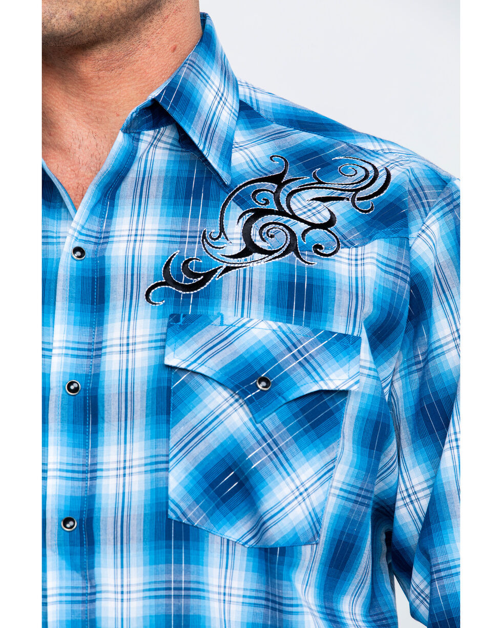 Ely Cattleman Men's Retro Plaid Embroidered Long Sleeve Western Shirt , Teal, hi-res