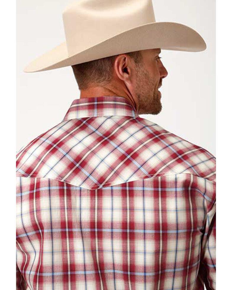 Amarillo Men's Heritage Vintage Red Plaid Short Sleeve Western Shirt , Red, hi-res