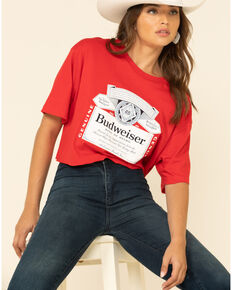 Brew City Beer Gear Women's Red Budweiser Label Graphic Cropped Tee, Red, hi-res