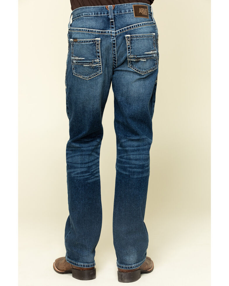 Ariat Men's M2 Summit Stretch Stackable Relaxed Bootcut Jeans - Big , Blue, hi-res
