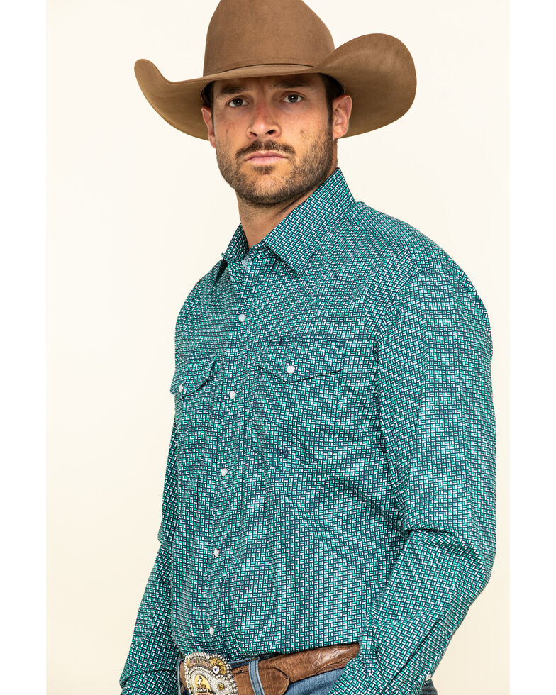 Roper Men's Amarillo Blue Ridge Small Geo Print Long Sleeve Western Shirt , Blue, hi-res