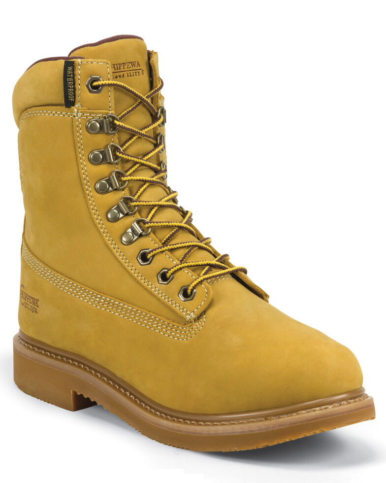 """Chippewa Gunnison Nubuc Waterproof & Insulated 8"""" Lace-Up Boots - Round Toe, Golden Tan, hi-res"""
