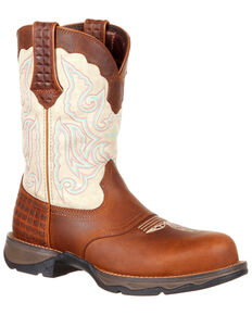 Durango Women's Lady Rebel Saddle Western Work Boots - Composite Toe, Brown, hi-res