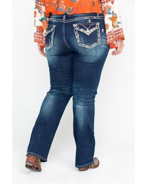 Grace In LA Women's Floral Border Dark Boot Jeans - Plus , Blue, hi-res