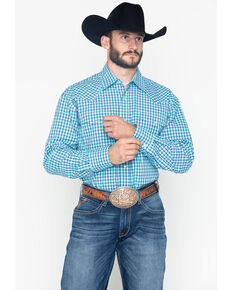 Roper Men's Clear Sky Small Plaid Long Sleeve Shirt , Blue, hi-res