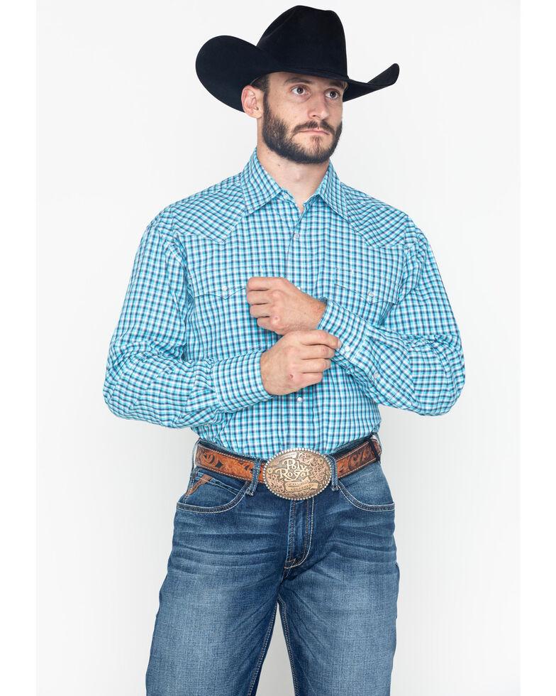 Roper Men's Clear Sky Small Plaid Long Sleeve Shirt , Blue, hi-res