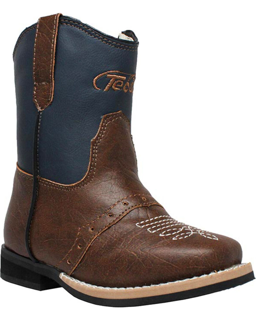 """Ad Tec Toddler Boys' 6"""" Side Zip Western Boots - Square Toe, Navy, hi-res"""