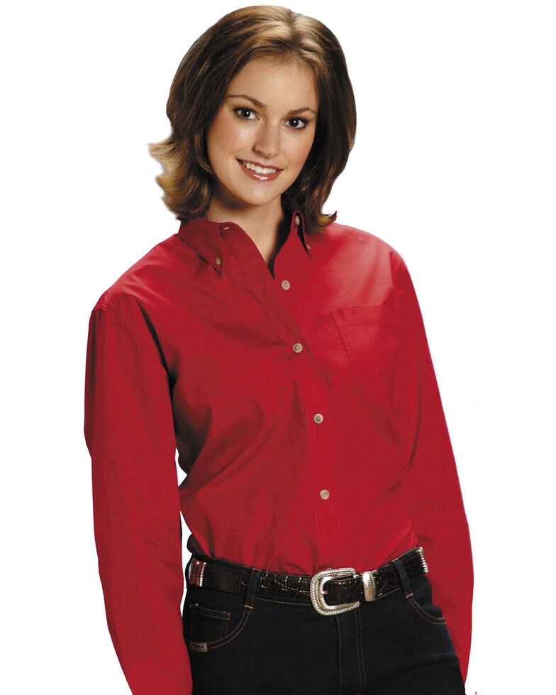 Roper Women's Amarillo Solid Button-Down Poplin Shirt - Plus, Red, hi-res
