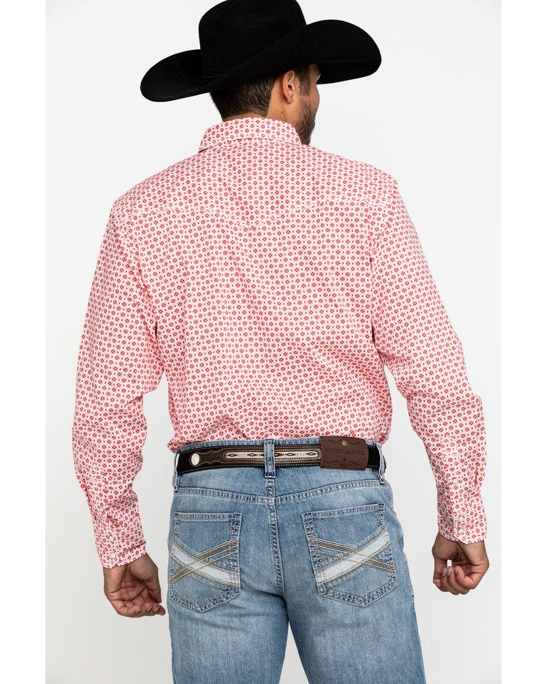 Wrangler 20X Men's Advanced Comfort Red Geo Print Poplin Long Sleeve Western Shirt , Red, hi-res