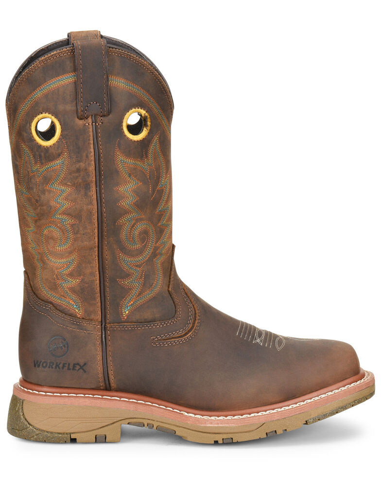 Double H Men's Brown Elijah Western Work Boots - Composite Toe, Brown, hi-res