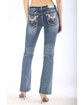 Grace In LA Women's Medallion Embroidered Pocket Boot Jeans , Indigo, hi-res