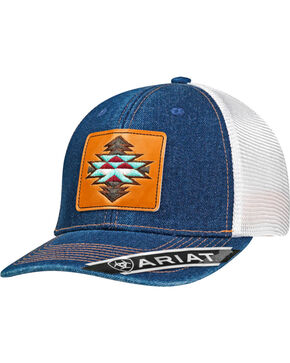 Ariat Women's Blue Aztec Logo Denim Baseball Cap , Blue, hi-res