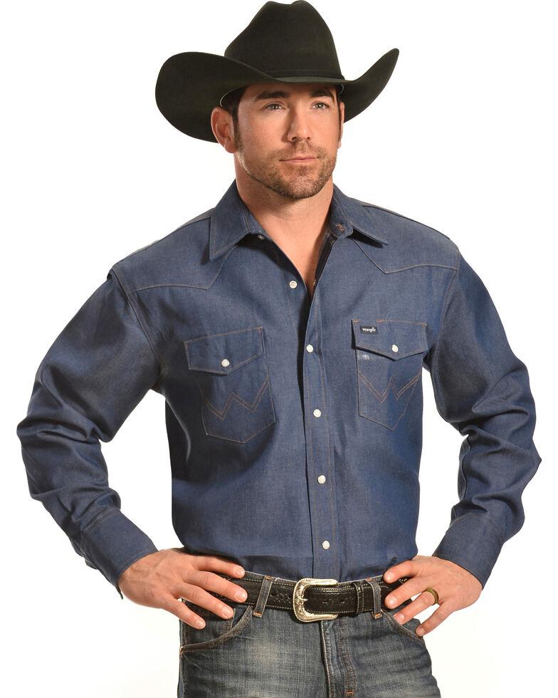 Wrangler Men's Indigo Denim Long Sleeve Work Shirt , Indigo, hi-res
