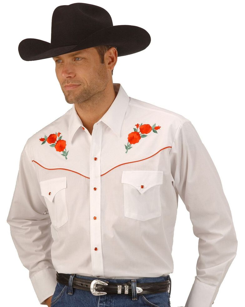 Ely Walker Men's Solid Embroidered Rose Long Sleeve Western Shirt, White, hi-res