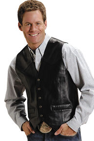 Roper Lamb Leather Vest, Black, hi-res