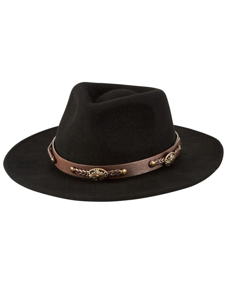 San Diego Hat Company Men's Black Crushable Wool Felt Fedora Hat, Black, hi-res