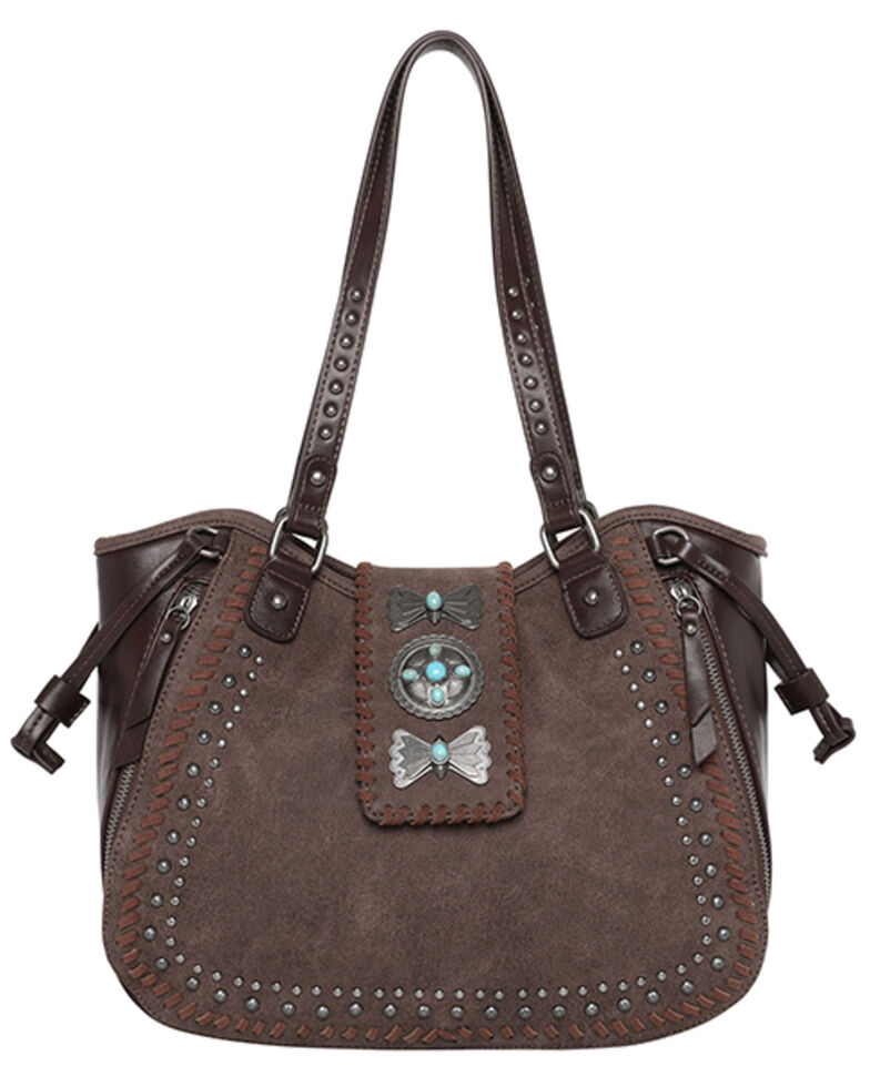 Montana West Women's Wrangler Butterfly Concho Tote Bag, Coffee, hi-res
