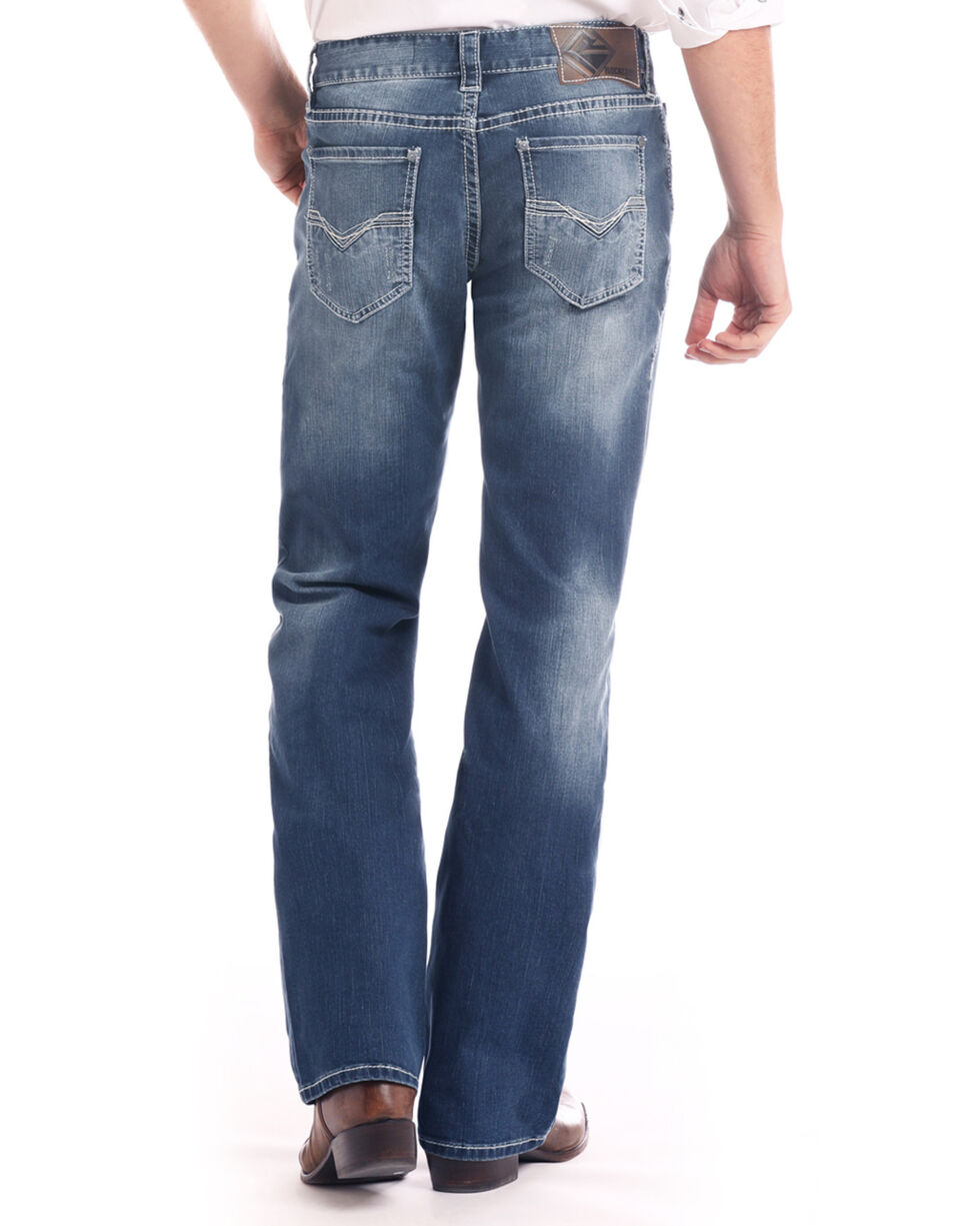 Rock & Roll Cowboy Men's Small V Embroidered Reflex Boot Jeans , Dark Blue, hi-res