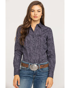 West Made Women's Black Paisley Print Long Sleeve Western Shirt, Black, hi-res