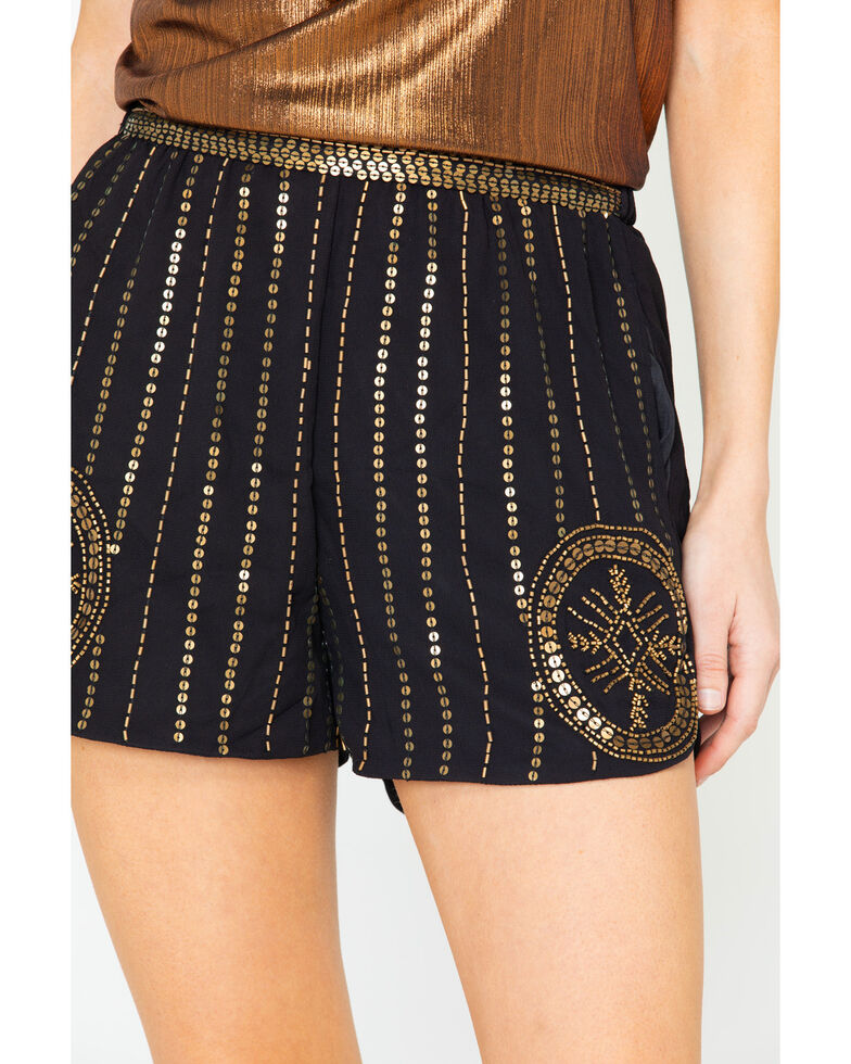 Angie Women's Beaded Sequin Chiffon Shorts  , Gold, hi-res