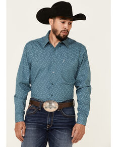 Cinch Men's Modern Fit Teal Geo Print Long Sleeve Button-Down Western Shirt , Teal, hi-res