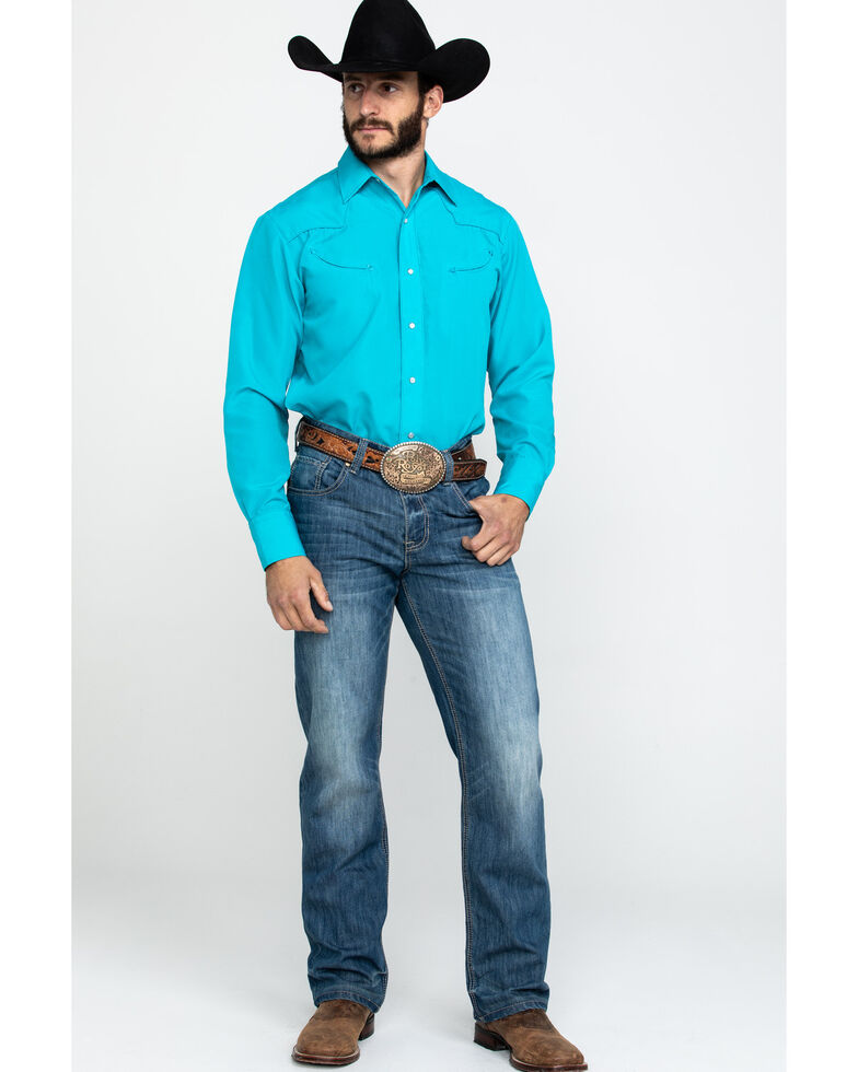 Roper Men's Turquoise Solid Embroidered Yoke Long Sleeve Western Shirt , Turquoise, hi-res