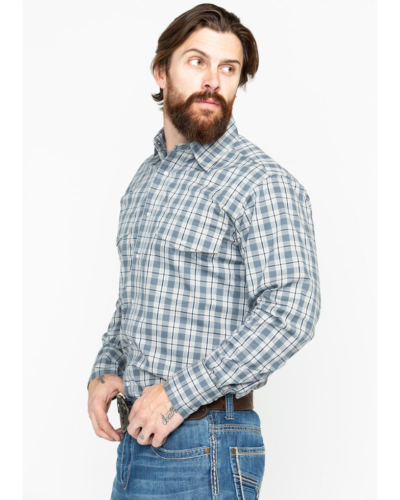 Wrangler Men's Wrinkle Resist Grey Plaid Long Sleeve Western Shirt, Grey, hi-res