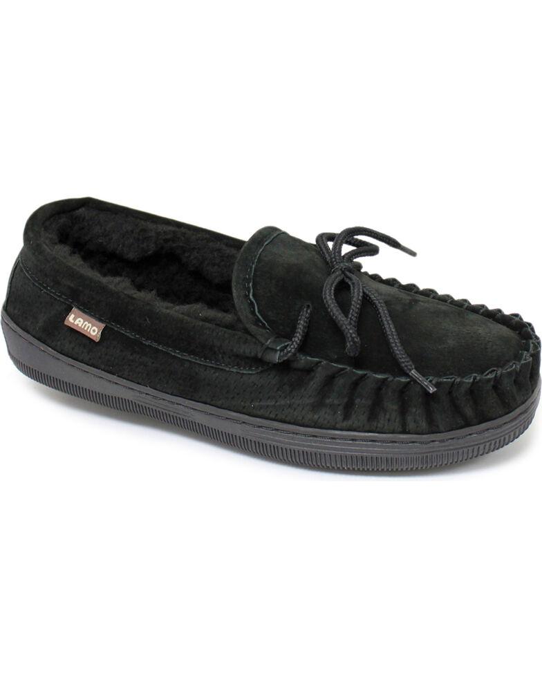 Lamo Footwear Men's Leather Moccasin Slippers - Moc Toe, Black, hi-res