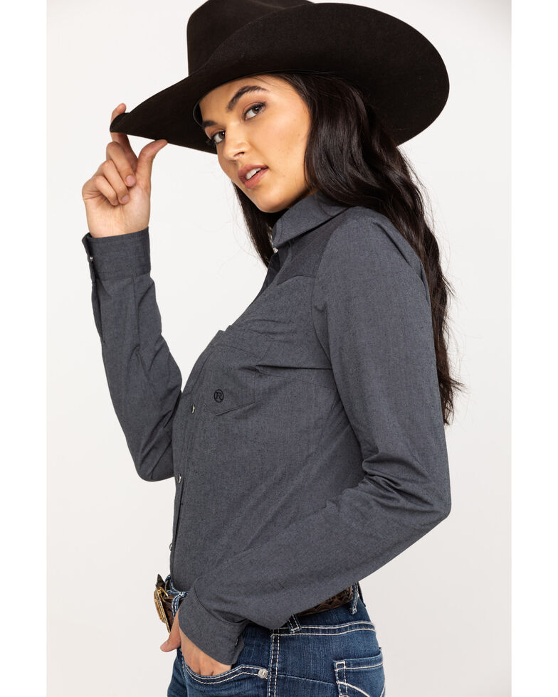 Roper Women's Grey Long Sleeve Western Shirt, Grey, hi-res