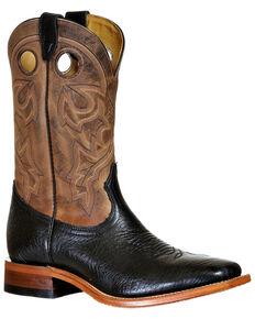 Boulet Men's Wide Square Toe Western Boots, Black, hi-res