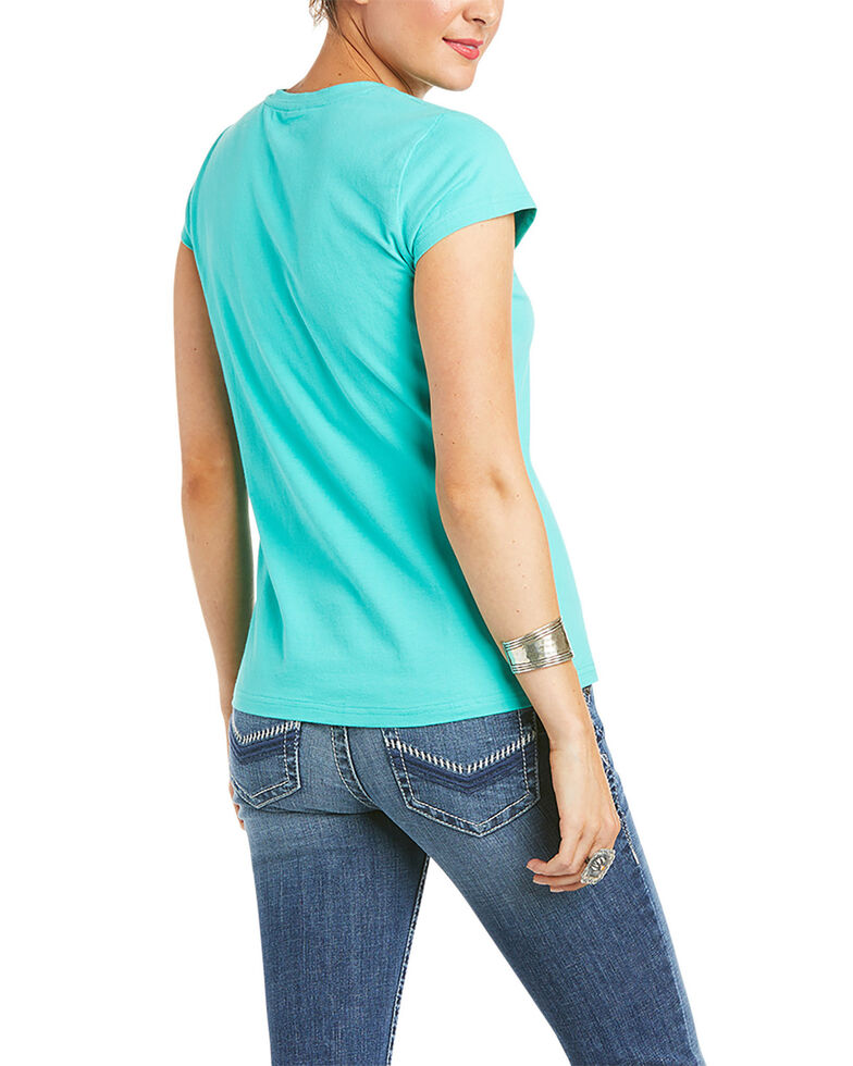 Ariat Women's R.E.A.L Waterfall Logo Graphic Short Sleeve Tee , Teal, hi-res