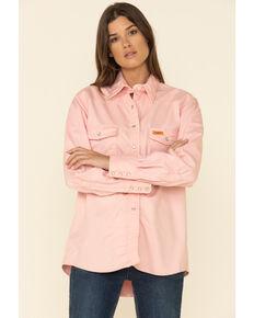 Wrangler Women's Lightweight Flame Resistant Pink Long Sleeve Shirt, Pink, hi-res