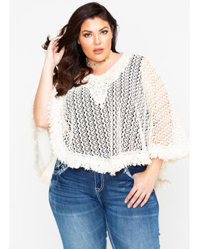 Flying Tomato Women's Knit Crochet Fringe Top - Plus , Cream, hi-res